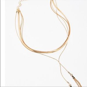 Free people goldspun bolo necklace